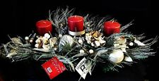"""NWT 32""""W Silver Glitter & Faux Pine Christmas Candle Holder for Three Candles"""
