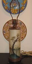 VINTAGE ORIENTAL ARTIST SIGNED HAND PAINTED GLASS TABLE LAMP
