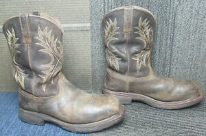 Mens ARIAT Workhog Wide Square Toe H2O CT Leather Work Boots sz 9.5 EE