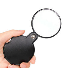 8X Mini Black Pocket Folding Jewelry Magnifier Magnifying Eye Glass Loupe Lens#