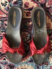 Donald J Pliner Red Satin Knotted Slide Sandals With Wood Heel Size 7