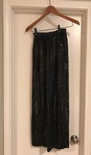 Vintage Black Overall Sequin Skirt Size Medium Back Slit 100% Silk
