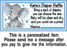 20 Elephant Baby Shower Diaper Raffle Tickets Game Cards Boy Blue Personalized