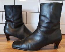 LK Bennett black leather mid heel ankle boot size EU 41 UK 7.5 zip square toe