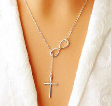 Womens Fashion Elegant Silver Plated Cross Infinity Pendant Chain Party Necklace