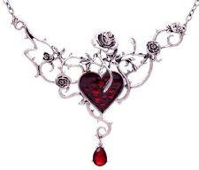 BLOOD ROSE HEART NECKLACE gothic rose & thorn vine poison ivy bib statement 5Y