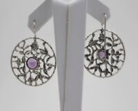 Sterling Silver Floral Pattern Earrings with Amethyst