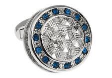 Crystal Blue Weave Design Cufflinks Wedding Fancy Gift Box & Polishing Cloth