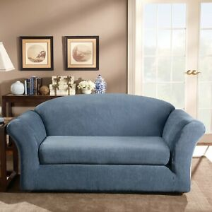 Sure Fit Stretch Stripe 2-Piece - Sofa Slipcover - NAVY