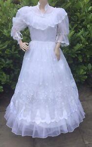 VINTAGE 70's WEDDING DRESS NYLON EMBROIDERED FLOUNCY VICTORIAN Theatre Hen S