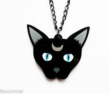 Pendentif chat noir collier chat noir acrylique haute qualité arcane cat pendant