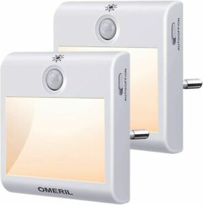 Nachtlicht Steckdose mit Bewegungsmelder, OMERIL 2 Stück Steckdosenlicht 3 Modi