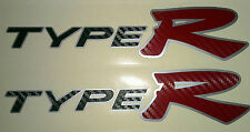 Honda Civic Type R Side Skirt stickers Silver background with Black + Red Carbon