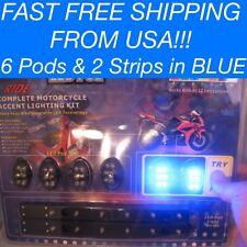 8 Pc Blue LED Neon Glow Interior Universal Car Truck Accent Lighting Kit