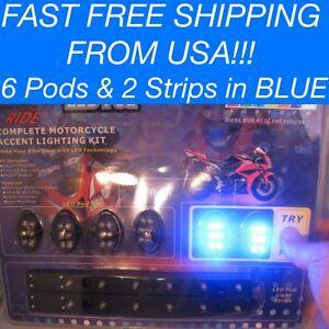 8 Pc Blue / White LED Light Under Glow Motorcycle NEON Electro strip & Pod Kit
