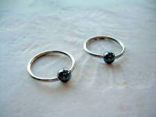 "Pair 16g  7/16"" Captive Bead Ring 316L Hematite Stone Ball Ear Earrings Z"