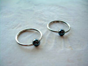 "Pair 16g  7/16"" Captive Bead Ring 316L Hematite Plated Stone Ball Ear Earrings"