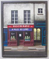 THOMAS PRADZYNSKI Rare Original Oil Painting Paris French Cafe Realism Signed