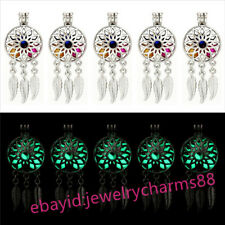 In The Dark Green Beads Locket G679 Bulk 10pcs Silver Dream Catcher Flower Glow
