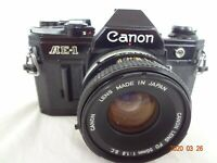 Canon AE-1 SLR Camera black with FD50mm/f1.8SC lens,strap from Japan Exc++ 2323