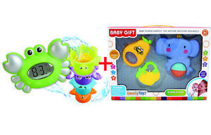 Baby Rattle and Bath Thermometer Set Crab Toy Teether Gift box Early learning