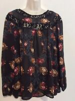 Knox Rose 1X Tunic Top Blouse Sheer Black Purple Brown Floral Pleated Boho Lace