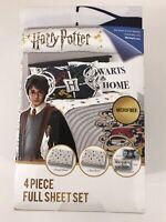 Harry Potter Full Sheet Set 4 Pieces Microfiber Hogwarts Wizard NEW