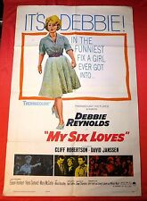 1963 MY SIX LOVES Movie Poster Debbie Reynolds Cliff Robertson *FREE SHIPPING*