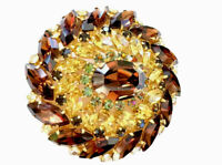 Vintage Very Large Statement Piece Austria Crystal Glass Brooch Cognac Gold Etc