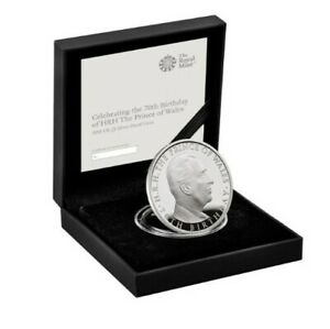 Prince of Wales 70th Birthday 2018 UK £5 Silver Proof Coin Limited Edition Boxed