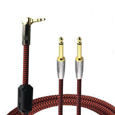 """Angle Mini Jack 3.5mm to Dual 6.35mm 1/4"""" Phone Speaker Amplifier Cable Hifi 2ft"""