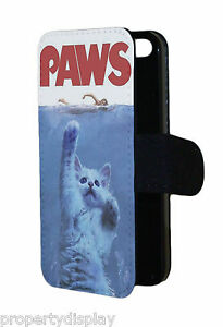 Funny Paws Cat Lover Picture Flip Wallet Mobile Phone Case Cover