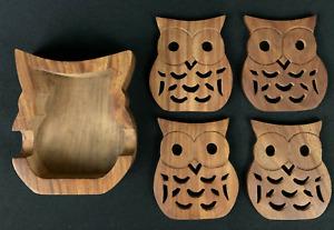 Vintage OWL Wood Coasters Set of Four with Storage Holder