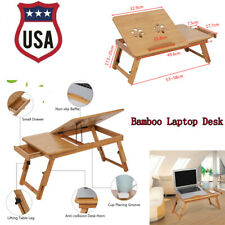 Portable Folding Lap Desk Bamboo Laptop Tray Natural Bed Table Stand with Drawer