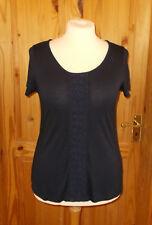 PER UNA M&S navy dark blue short sleeve t-shirt top tunic floral lace trim 16 44