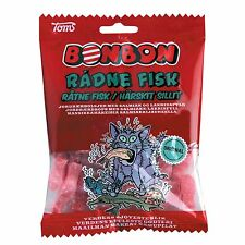 Toms Bonbon Radne Fisk - Strawberry/Salmiak Hard candies -125g-Made in Denmark