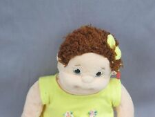 New Curly Hair Beanie Kids TY Girl Yellow Dress Flowers Plush Stuffed Doll 1997