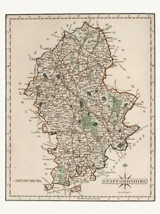 Old Antique decorative Staffordshire map Cary ca. 1787 paper or canvas