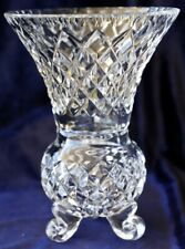 Vintage Retro Diamond Cut Crystal Three foot Trumpet Vase 19cm high