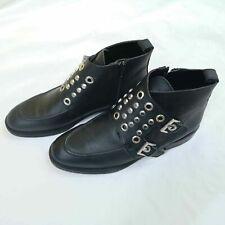 Zara Cuero Negro Tachonado Botas al Tobillo Uk 7 euro 40 US 9 Zapatos