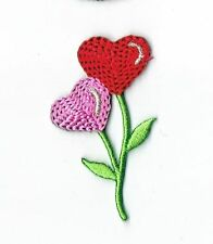 Red/Pink Heart Shaped Flowers - Iron on Applique/Embroidered Patch