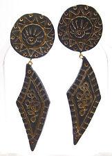 SoHo® Ohrclips Ethno 1980er schwarz gold bronze retro resin leicht 9 x 3 cm groß