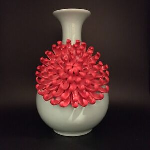 Anthropologie Ceramic Bud Bloom Red 3D Chrysanthemum Flower Aqua Blue Vase