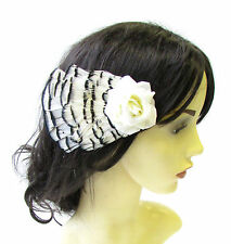 Ivory Black White Pheasant Feather Rose Hair Clip Bridal Fascinator Vintage 1635