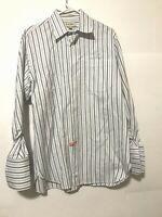 John W Nordstrom Mens Long Sleeve Dress Shirt White Blue Button Down Sz 15.5-32