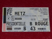 [COLLECTION SPORT FOOTBALL] TICKET PSG / FC METZ 23 MARS 1997 Champ.France