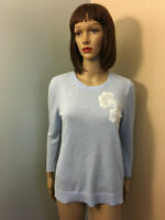 ANN TAYLOR LOFT Sz S Lt Blue Thin PULLVOER SWEATER White Floral Embroidered