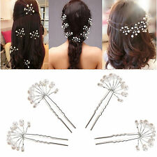 Crystal Diamante Pearl Flower Bridal Wedding Prom Hair Pins Clips BDAU
