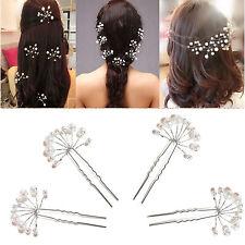 Crystal Diamante Pearl Flower Bridal Wedding Prom Hair Pins Clips JR