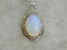 Ethiopian Opal and Filigree White Gold Pendant of Incredible Quality
